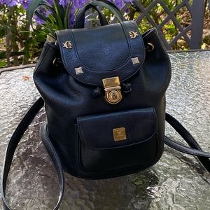 MCM Black Leather Small Gold Studded Backpack